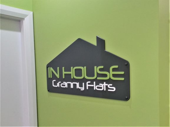 In-House Granny Flats Reception Signage NSW
