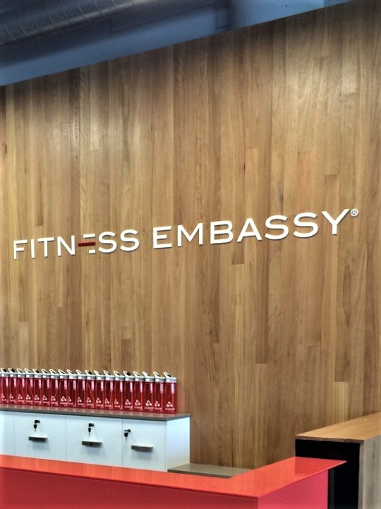 Fitness Embassy Reception Signage NSW
