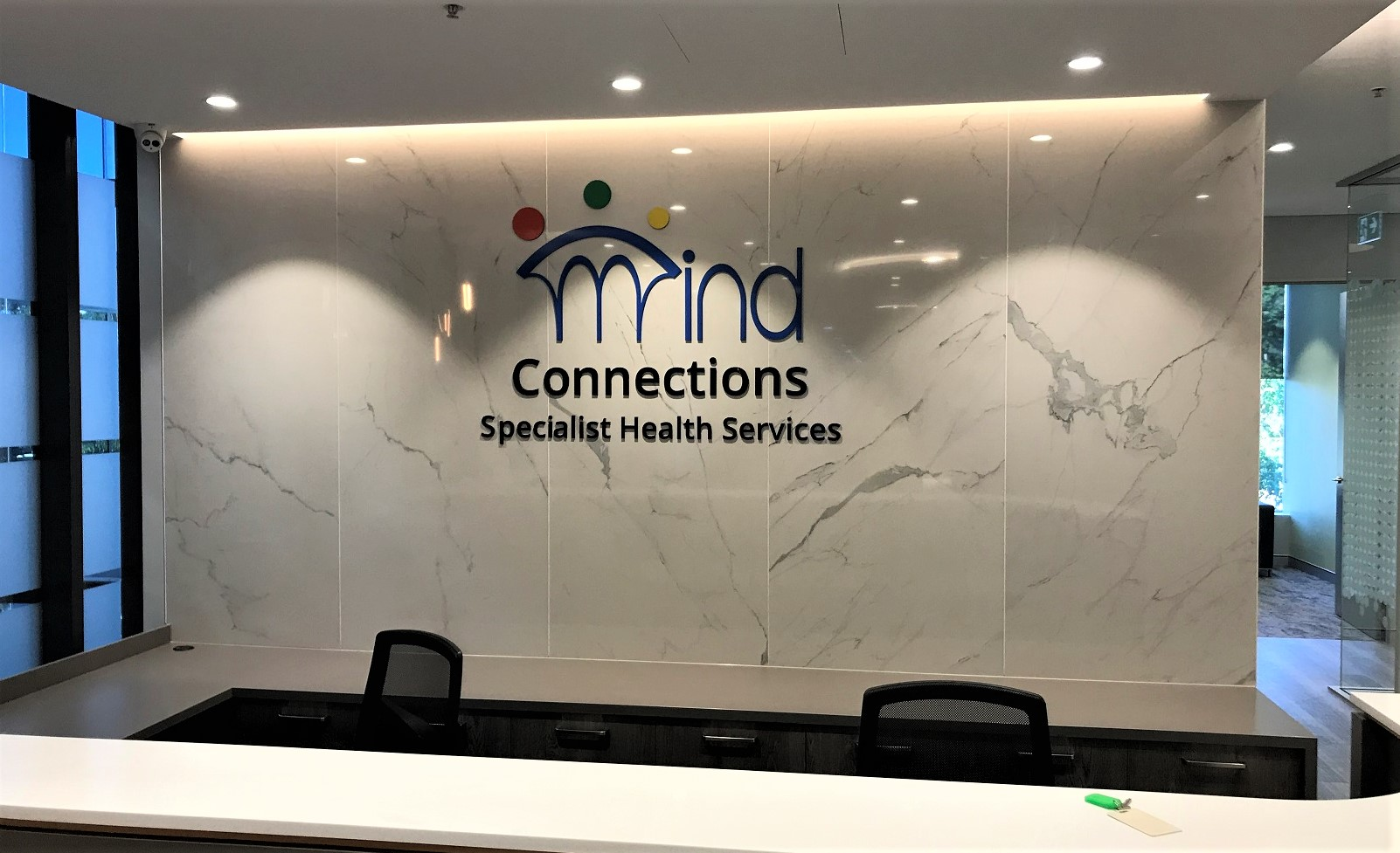 Mind Connections Reception Laser Cut Letters + Logos NSW