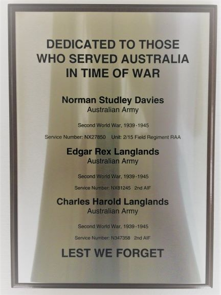 Lest We Forget Sandblast/Etched NSW