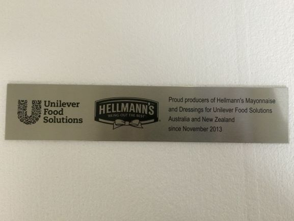 Unilever Label Laser Engraved NSW