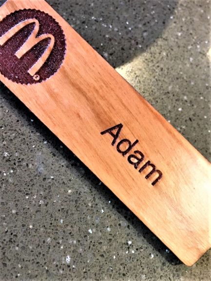 Wooden Name Badge Engraved + Printed NSW
